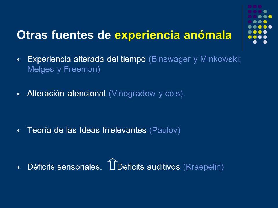 Otras fuentes de experiencia anómala Experiencia alterada del tiempo (Binswager y Minkowski; Melges y Freeman) Alteración atencional (Vinogradow y col