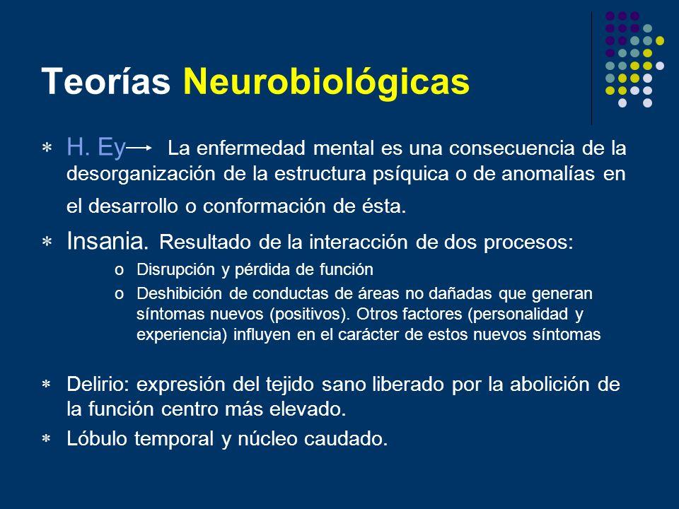 Teorías Neurobiológicas H. Ey La enfermedad mental es una consecuencia de la desorganización de la estructura psíquica o de anomalías en el desarrollo