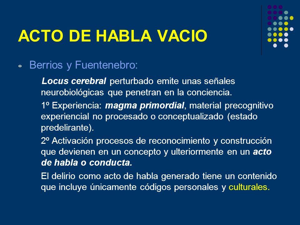 ACTO DE HABLA VACIO Berrios y Fuentenebro: Locus cerebral perturbado emite unas señales neurobiológicas que penetran en la conciencia. 1º Experiencia: