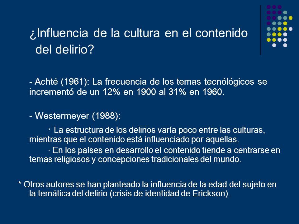 ¿Influencia de la cultura en el contenido del delirio? - Achté (1961): La frecuencia de los temas tecnólógicos se incrementó de un 12% en 1900 al 31%