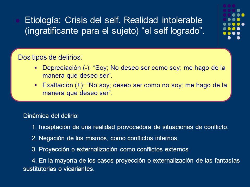Etiología: Crisis del self. Realidad intolerable (ingratificante para el sujeto) el self logrado. Dos tipos de delirios: Depreciación (-): Soy; No des