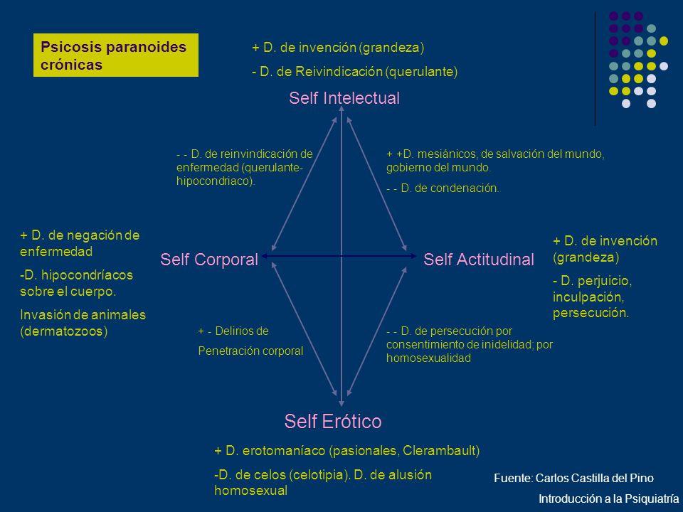 Psicosis paranoides crónicas Self Intelectual Self CorporalSelf Actitudinal Self Erótico + D. de invención (grandeza) - D. de Reivindicación (querulan