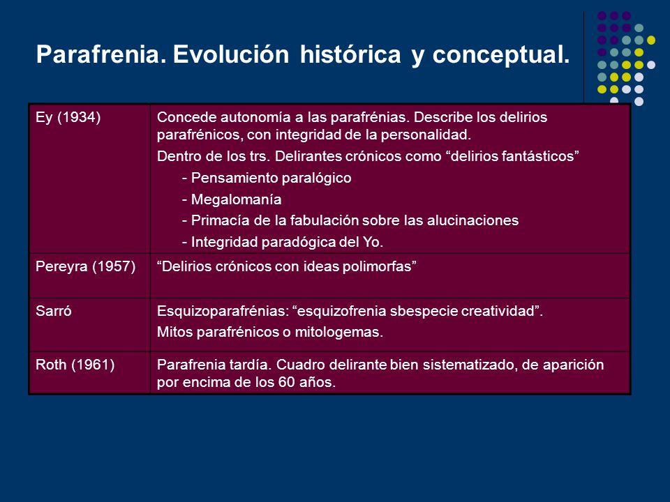 Parafrenia. Evolución histórica y conceptual. Ey (1934)Concede autonomía a las parafrénias. Describe los delirios parafrénicos, con integridad de la p