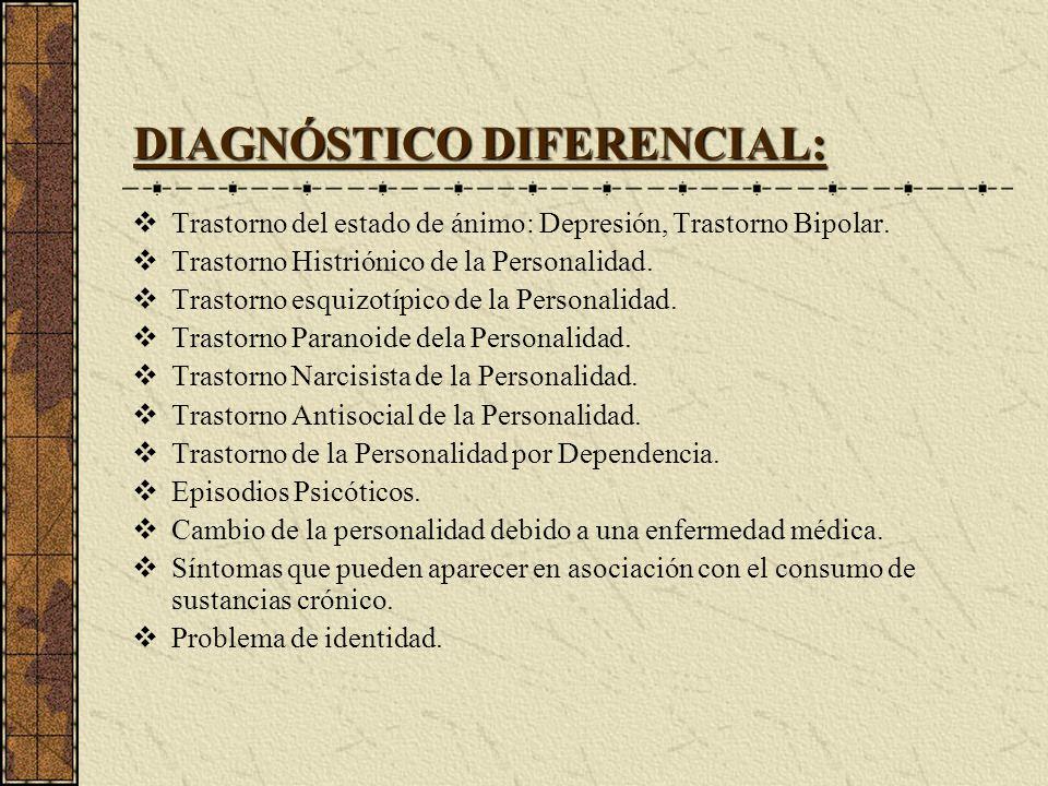 DIAGNÓSTICO DIFERENCIAL: Trastorno del estado de ánimo: Depresión, Trastorno Bipolar. Trastorno Histriónico de la Personalidad. Trastorno esquizotípic