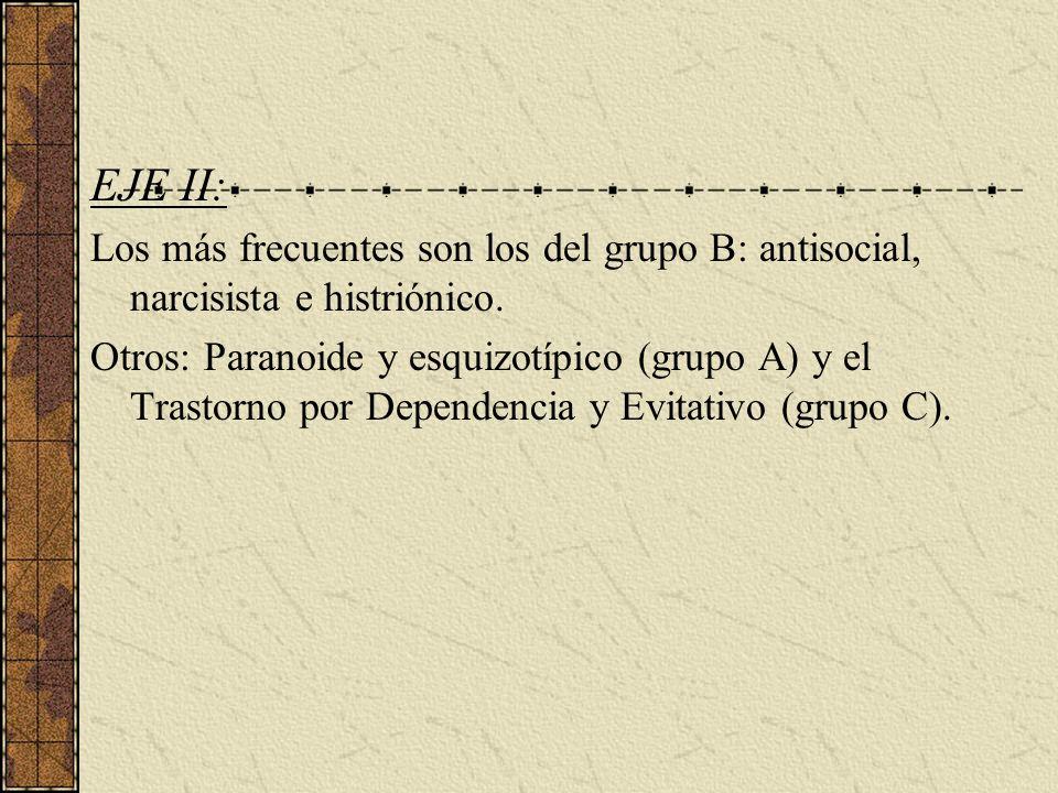 EJE II: Los más frecuentes son los del grupo B: antisocial, narcisista e histriónico. Otros: Paranoide y esquizotípico (grupo A) y el Trastorno por De