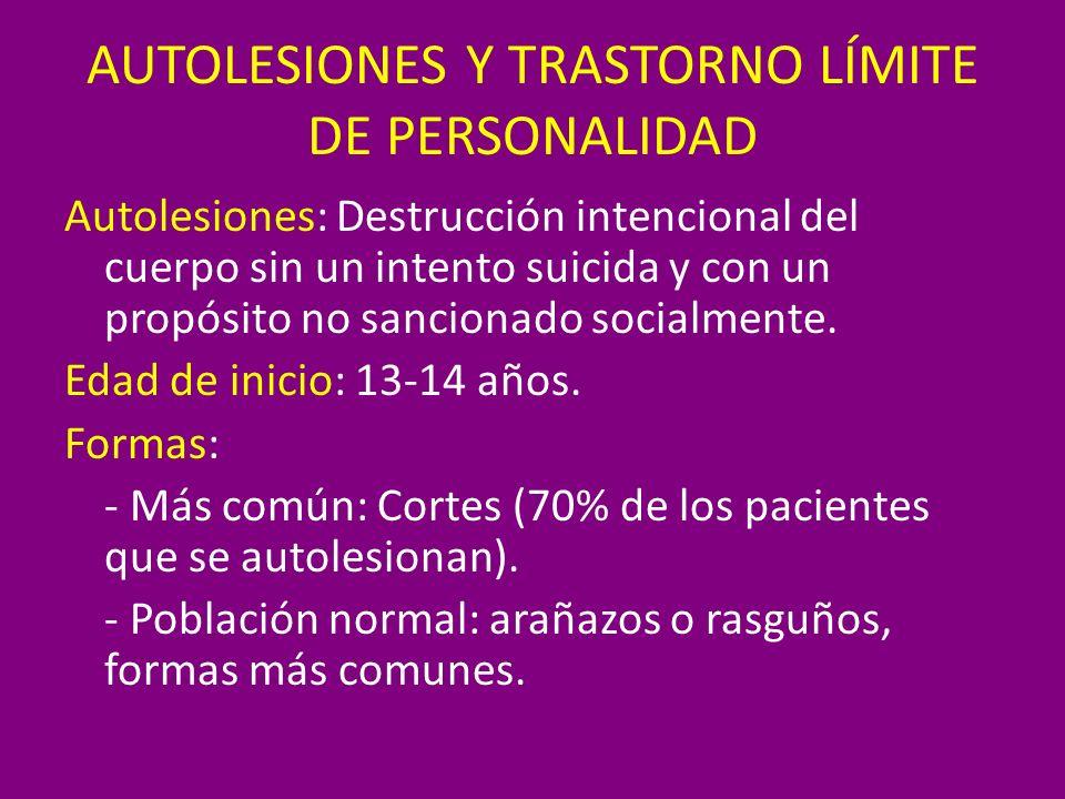 Autolesiones: Destrucción intencional del cuerpo sin un intento suicida y con un propósito no sancionado socialmente. Edad de inicio: 13-14 años. Form