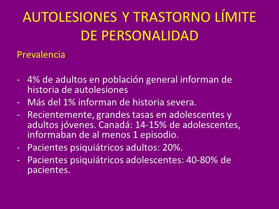 AUTOLESIONES Y TRASTORNO LÍMITE DE PERSONALIDAD Prevalencia -4% de adultos en población general informan de historia de autolesiones -Más del 1% infor