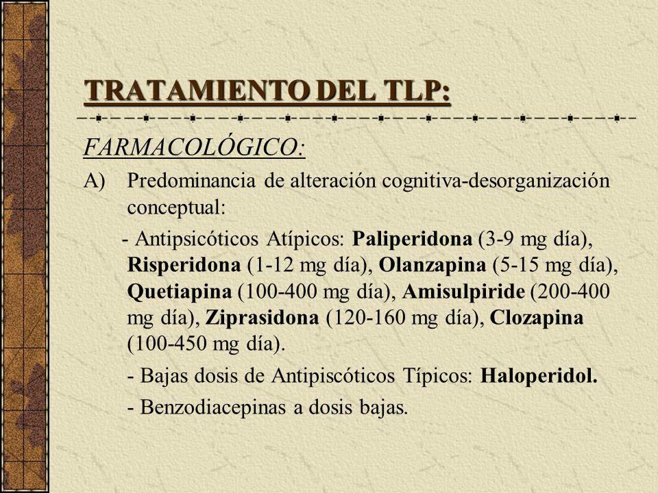 TRATAMIENTO DEL TLP: FARMACOLÓGICO: A)Predominancia de alteración cognitiva-desorganización conceptual: - Antipsicóticos Atípicos: Paliperidona (3-9 m