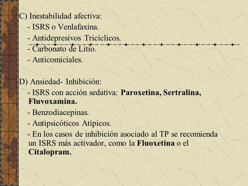 C) Inestabilidad afectiva: - ISRS o Venlafaxina. - Antidepresivos Tricíclicos. - Carbonato de Litio. - Anticomiciales. D) Ansiedad- Inhibición: - ISRS