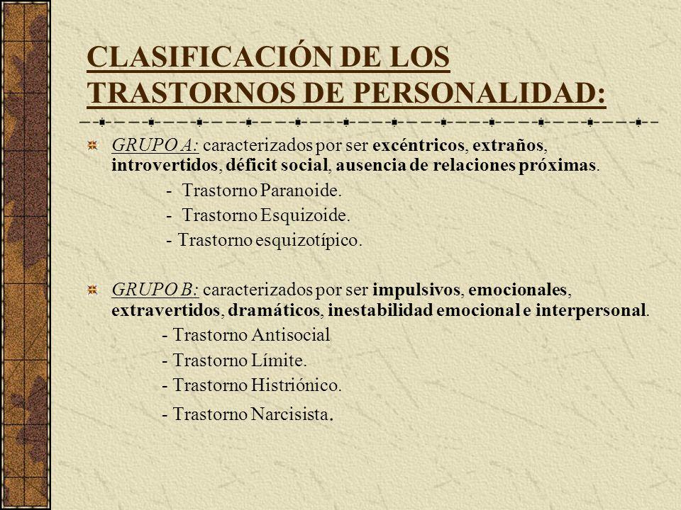 CLASIFICACIÓN DE LOS TRASTORNOS DE PERSONALIDAD: GRUPO A: caracterizados por ser excéntricos, extraños, introvertidos, déficit social, ausencia de rel