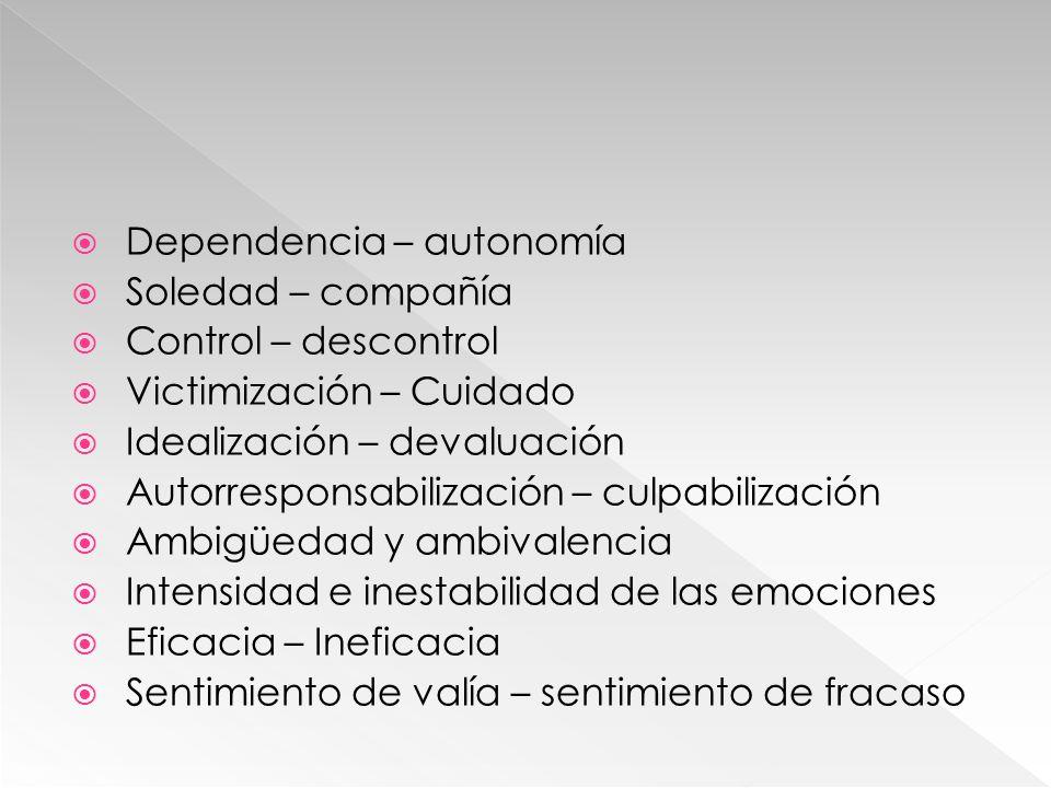 Dependencia – autonomía Soledad – compañía Control – descontrol Victimización – Cuidado Idealización – devaluación Autorresponsabilización – culpabili