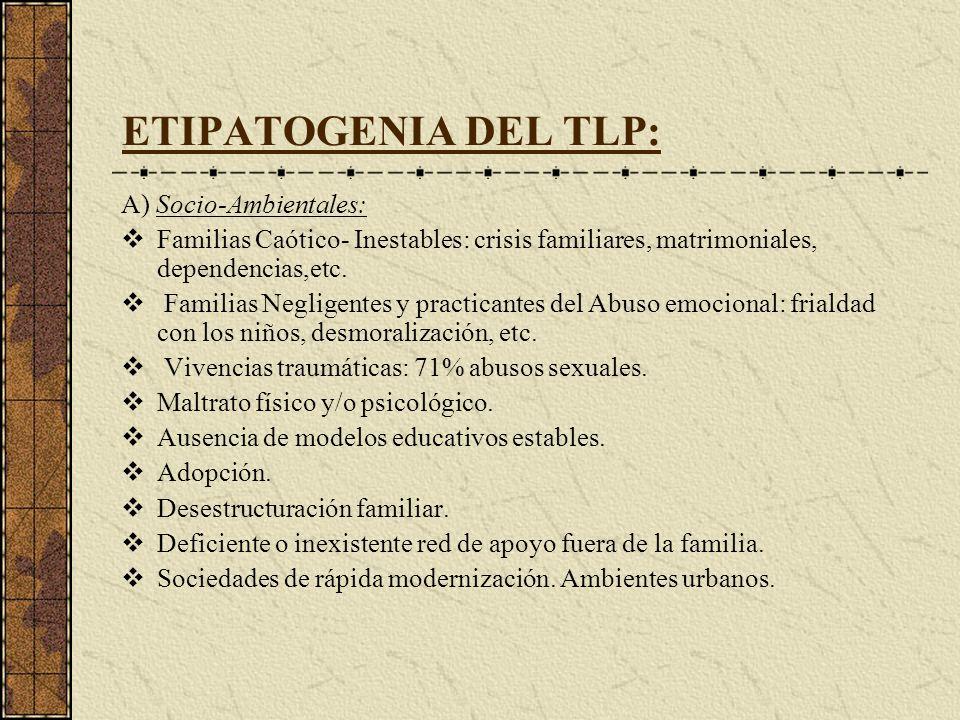 ETIPATOGENIA DEL TLP: A) Socio-Ambientales: Familias Caótico- Inestables: crisis familiares, matrimoniales, dependencias,etc. Familias Negligentes y p