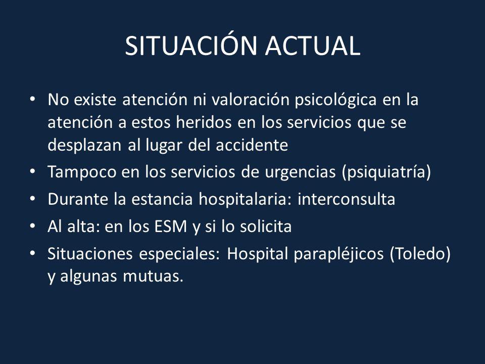 SITUACIÓN ACTUAL No existe atención ni valoración psicológica en la atención a estos heridos en los servicios que se desplazan al lugar del accidente