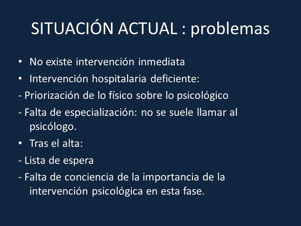 SITUACIÓN ACTUAL : problemas No existe intervención inmediata Intervención hospitalaria deficiente: - Priorización de lo físico sobre lo psicológico -