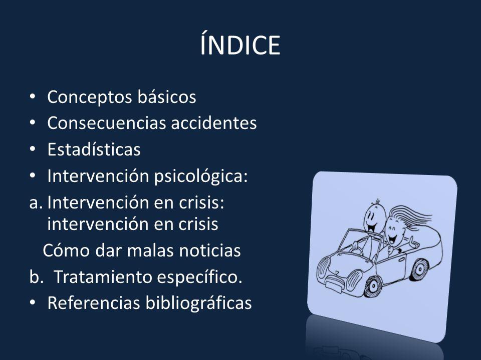 ÍNDICE Conceptos básicos Consecuencias accidentes Estadísticas Intervención psicológica: a.Intervención en crisis: intervención en crisis Cómo dar mal