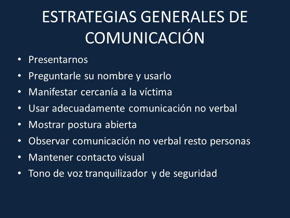 ESTRATEGIAS GENERALES DE COMUNICACIÓN Presentarnos Preguntarle su nombre y usarlo Manifestar cercanía a la víctima Usar adecuadamente comunicación no