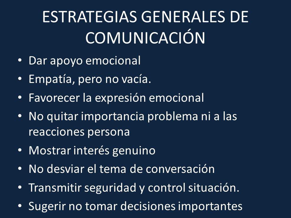ESTRATEGIAS GENERALES DE COMUNICACIÓN Dar apoyo emocional Empatía, pero no vacía. Favorecer la expresión emocional No quitar importancia problema ni a