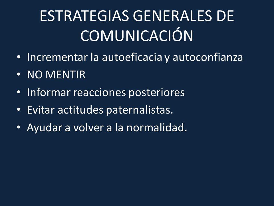 ESTRATEGIAS GENERALES DE COMUNICACIÓN Incrementar la autoeficacia y autoconfianza NO MENTIR Informar reacciones posteriores Evitar actitudes paternali