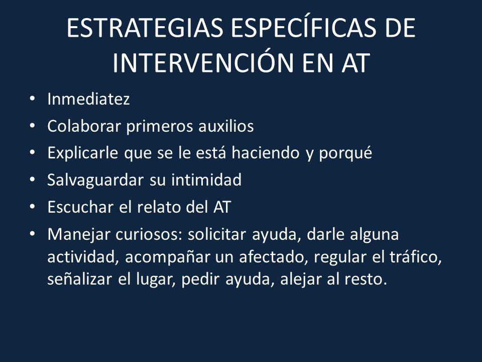 ESTRATEGIAS ESPECÍFICAS DE INTERVENCIÓN EN AT Inmediatez Colaborar primeros auxilios Explicarle que se le está haciendo y porqué Salvaguardar su intim