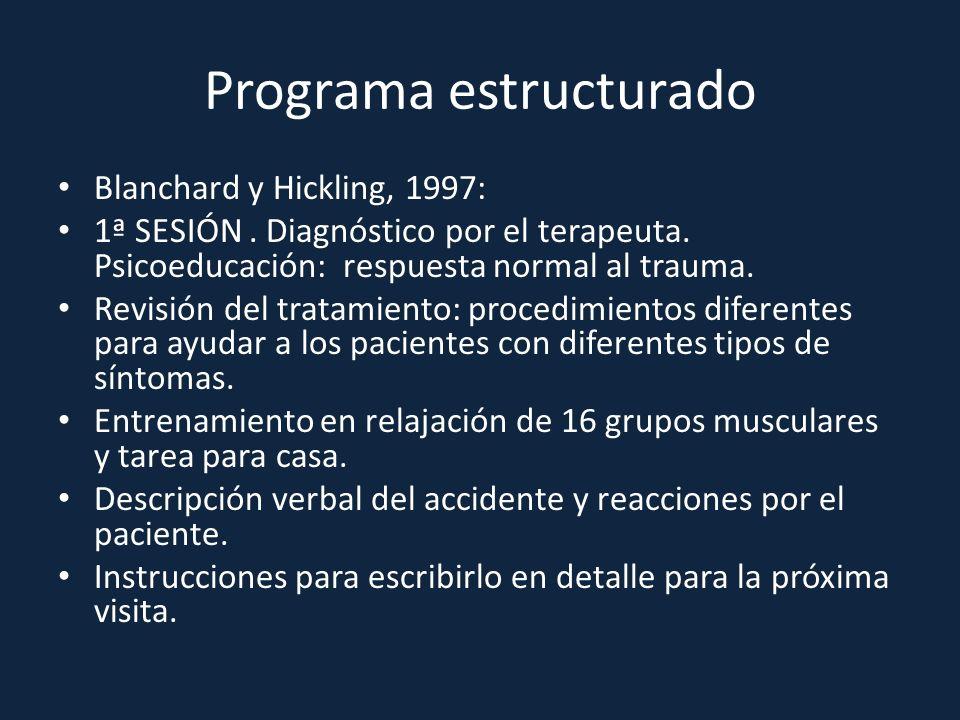 Programa estructurado Blanchard y Hickling, 1997: 1ª SESIÓN. Diagnóstico por el terapeuta. Psicoeducación: respuesta normal al trauma. Revisión del tr