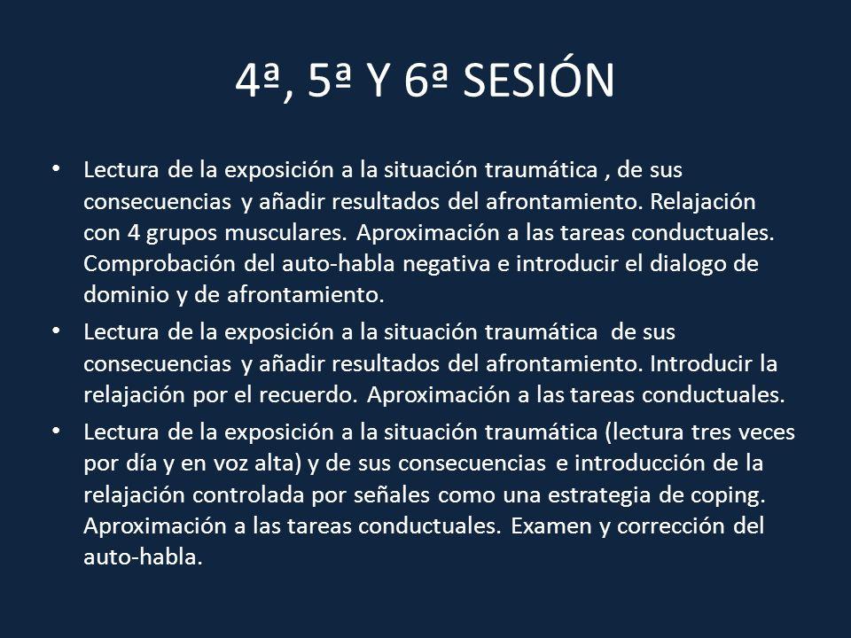 4ª, 5ª Y 6ª SESIÓN Lectura de la exposición a la situación traumática, de sus consecuencias y añadir resultados del afrontamiento. Relajación con 4 gr