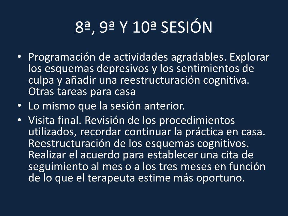 8ª, 9ª Y 10ª SESIÓN Programación de actividades agradables. Explorar los esquemas depresivos y los sentimientos de culpa y añadir una reestructuración