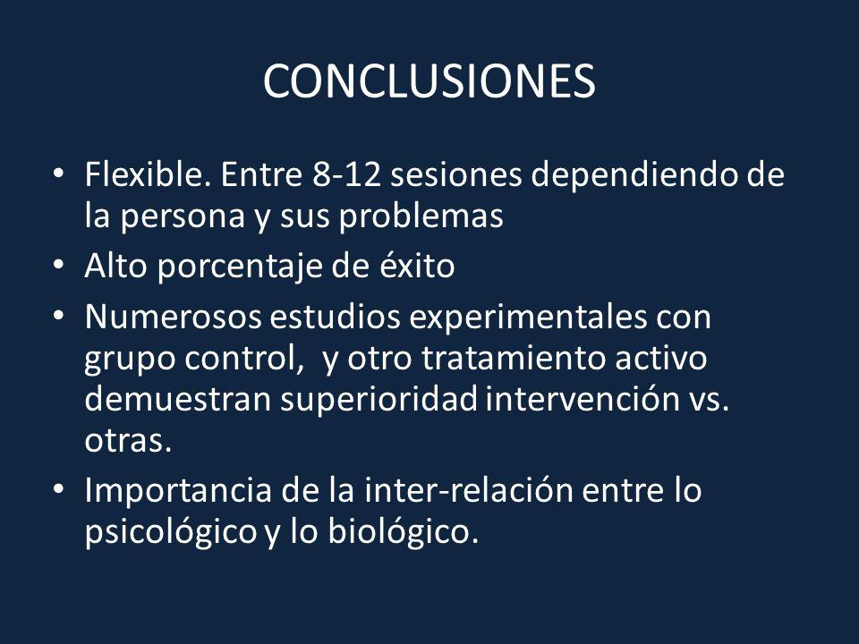 CONCLUSIONES Flexible. Entre 8-12 sesiones dependiendo de la persona y sus problemas Alto porcentaje de éxito Numerosos estudios experimentales con gr
