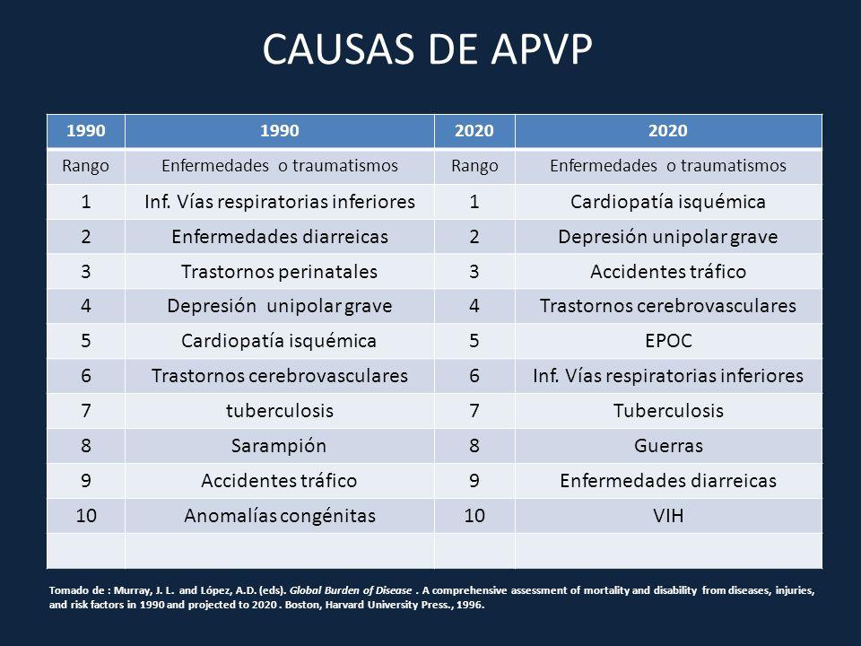 CAUSAS DE APVP 1990 2020 RangoEnfermedades o traumatismosRangoEnfermedades o traumatismos 1Inf. Vías respiratorias inferiores1Cardiopatía isquémica 2E