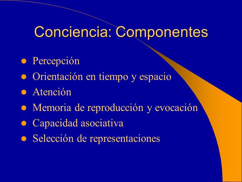 Conciencia: Componentes Percepción Orientación en tiempo y espacio Atención Memoria de reproducción y evocación Capacidad asociativa Selección de repr