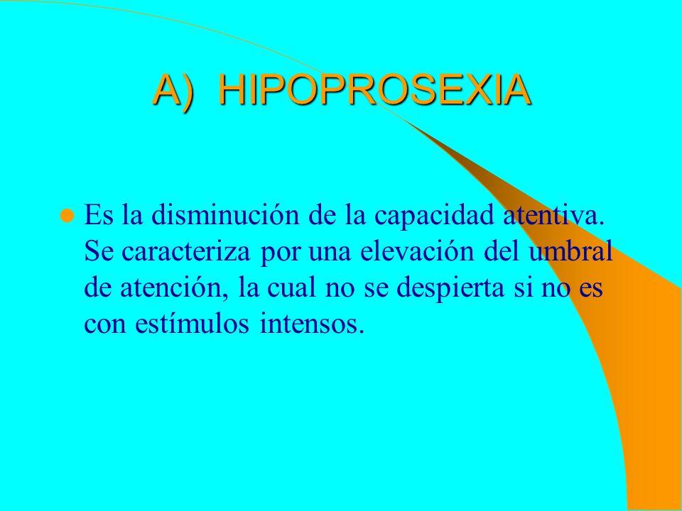 A) HIPOPROSEXIA Es la disminución de la capacidad atentiva. Se caracteriza por una elevación del umbral de atención, la cual no se despierta si no es