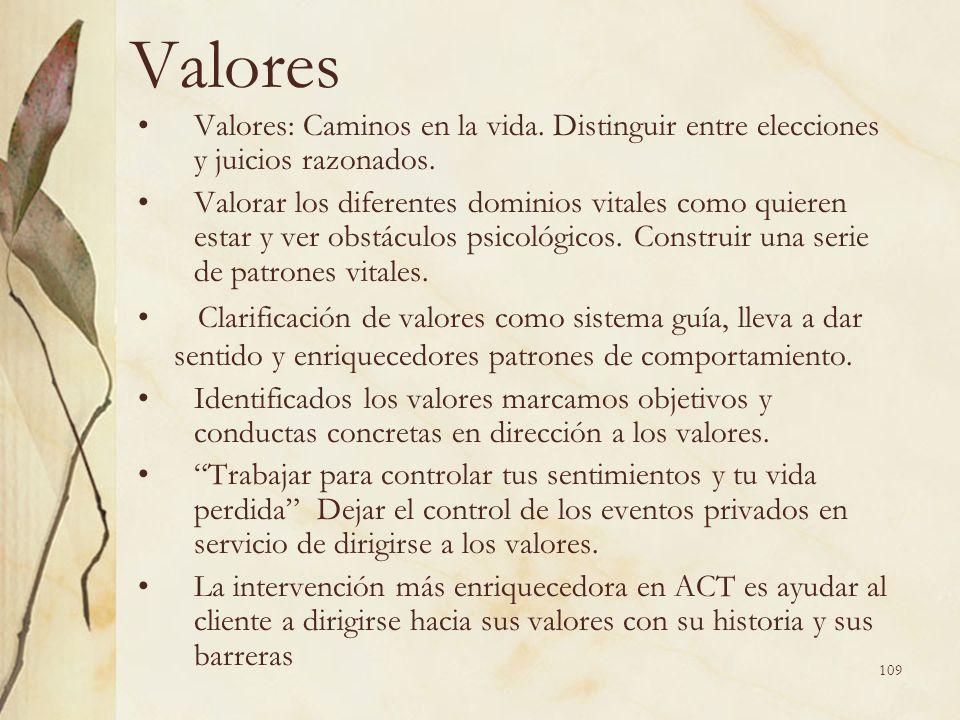 Valores Valores: Caminos en la vida. Distinguir entre elecciones y juicios razonados. Valorar los diferentes dominios vitales como quieren estar y ver