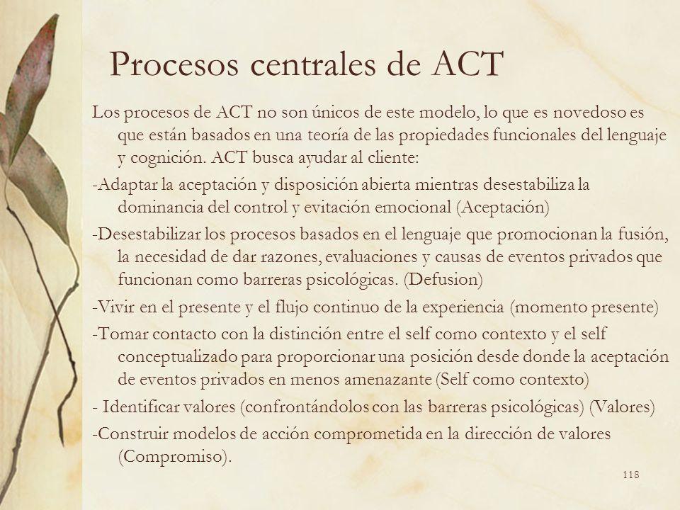 Procesos centrales de ACT Los procesos de ACT no son únicos de este modelo, lo que es novedoso es que están basados en una teoría de las propiedades f