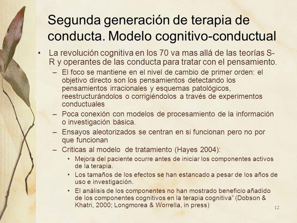 Segunda generación de terapia de conducta. Modelo cognitivo-conductual La revolución cognitiva en los 70 va mas allá de las teorías S- R y operantes d