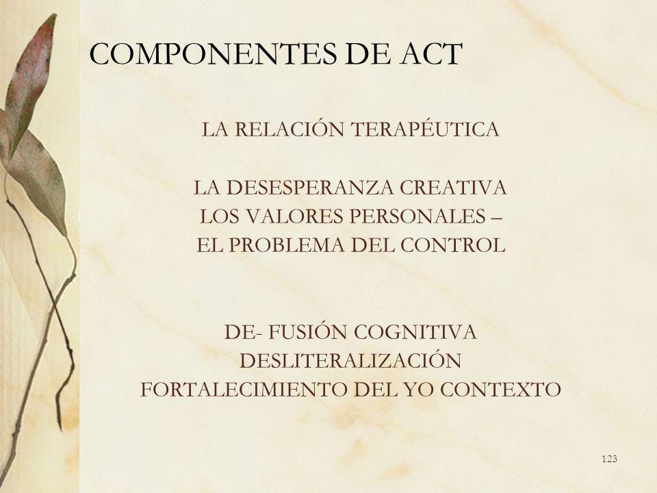 COMPONENTES DE ACT LA RELACIÓN TERAPÉUTICA LA DESESPERANZA CREATIVA LOS VALORES PERSONALES – EL PROBLEMA DEL CONTROL DE- FUSIÓN COGNITIVA DESLITERALIZ
