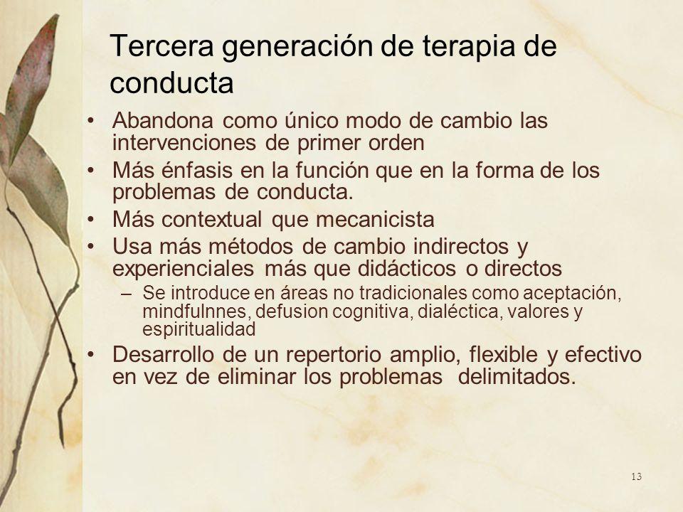 Tercera generación de terapia de conducta Abandona como único modo de cambio las intervenciones de primer orden Más énfasis en la función que en la fo