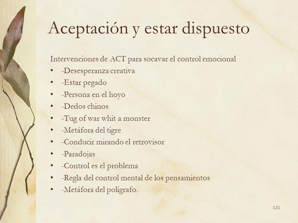Aceptación y estar dispuesto Intervenciones de ACT para socavar el control emocional -Desesperanza creativa -Estar pegado -Persona en el hoyo -Dedos c