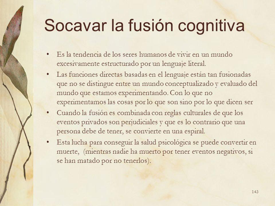 Socavar la fusión cognitiva Es la tendencia de los seres humanos de vivir en un mundo excesivamente estructurado por un lenguaje literal. Las funcione