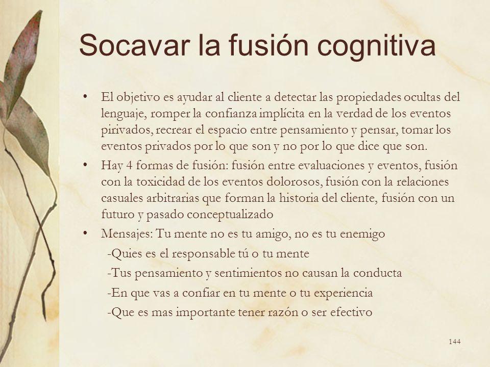 Socavar la fusión cognitiva El objetivo es ayudar al cliente a detectar las propiedades ocultas del lenguaje, romper la confianza implícita en la verd
