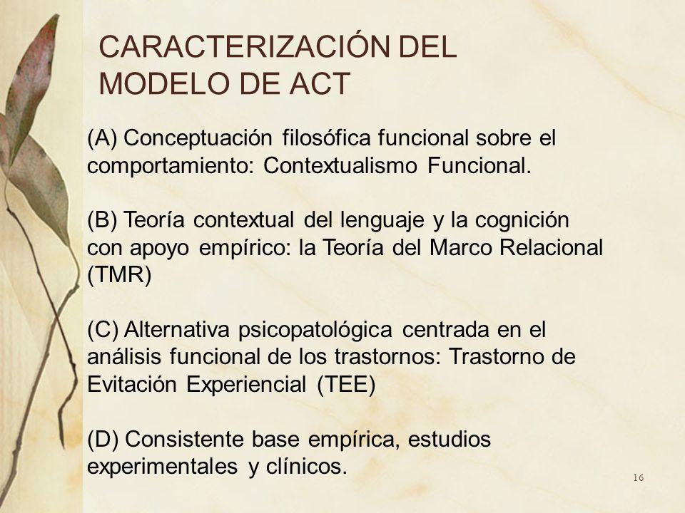 CARACTERIZACIÓN DEL MODELO DE ACT (A) Conceptuación filosófica funcional sobre el comportamiento: Contextualismo Funcional. (B) Teoría contextual del
