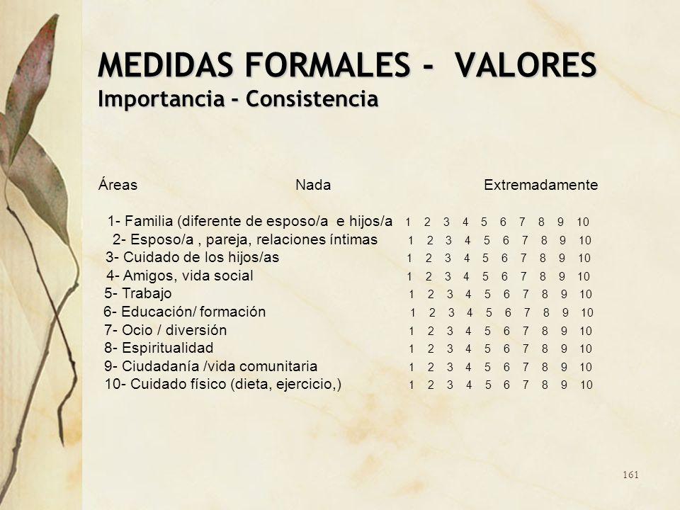 MEDIDAS FORMALES - VALORES Importancia - Consistencia Áreas Nada Extremadamente 1- Familia (diferente de esposo/a e hijos/a 1 2 3 4 5 6 7 8 9 10 2- Es