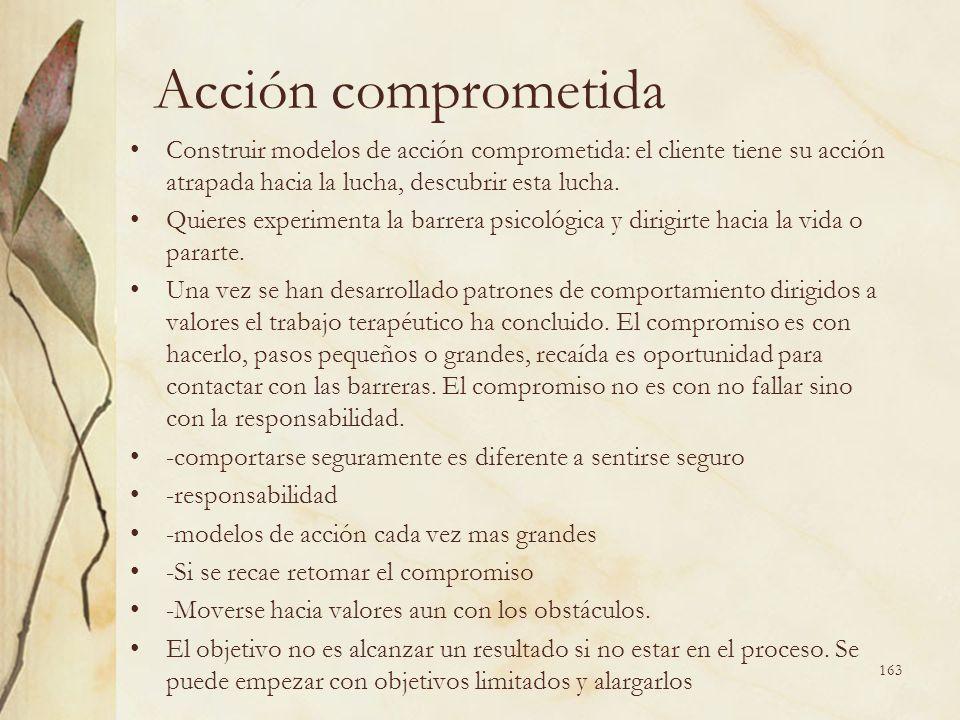 Acción comprometida Construir modelos de acción comprometida: el cliente tiene su acción atrapada hacia la lucha, descubrir esta lucha. Quieres experi