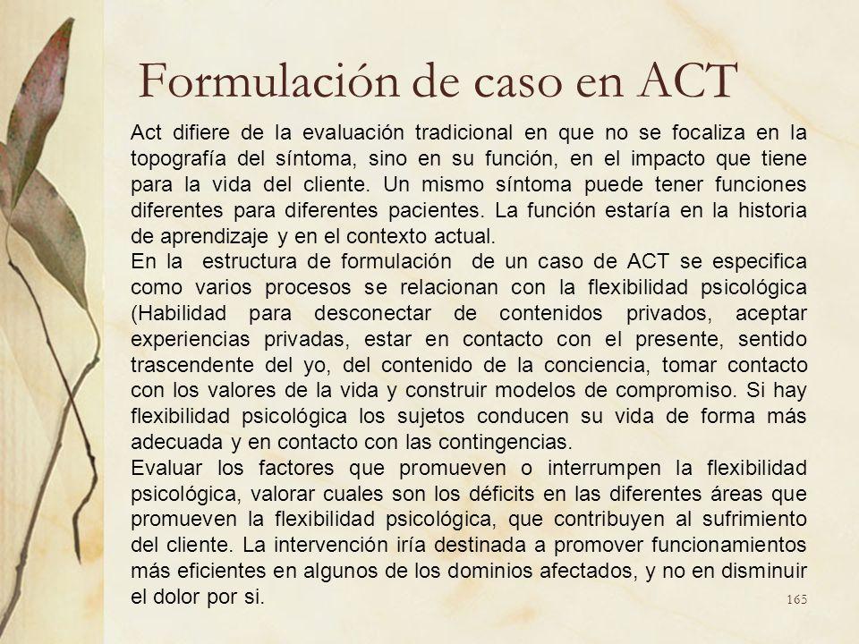 Formulación de caso en ACT Act difiere de la evaluación tradicional en que no se focaliza en la topografía del síntoma, sino en su función, en el impa