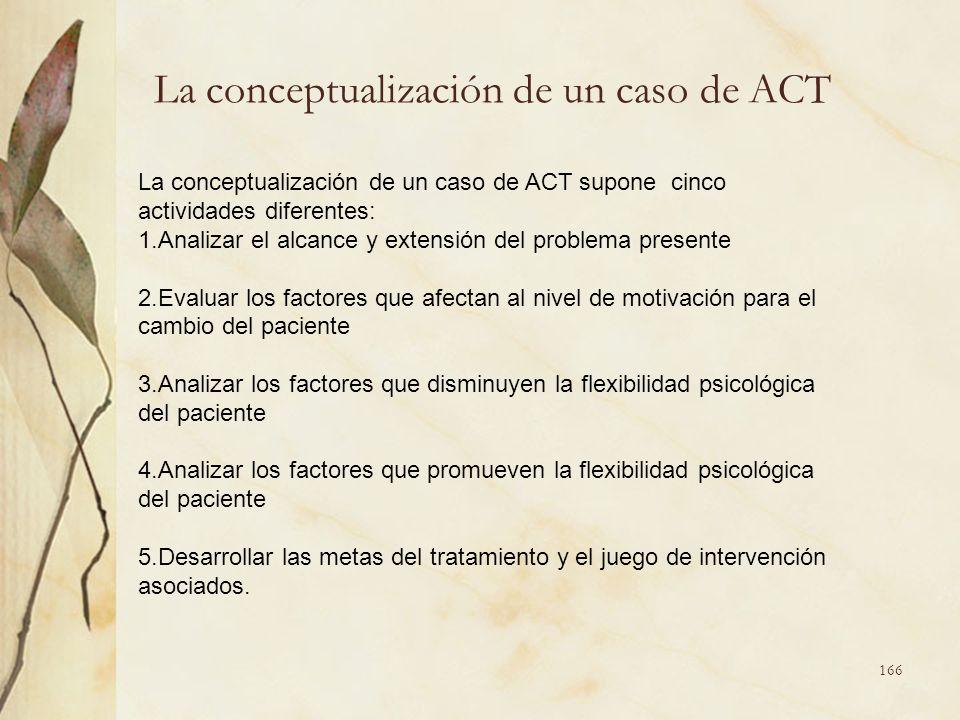La conceptualización de un caso de ACT La conceptualización de un caso de ACT supone cinco actividades diferentes: 1.Analizar el alcance y extensión d