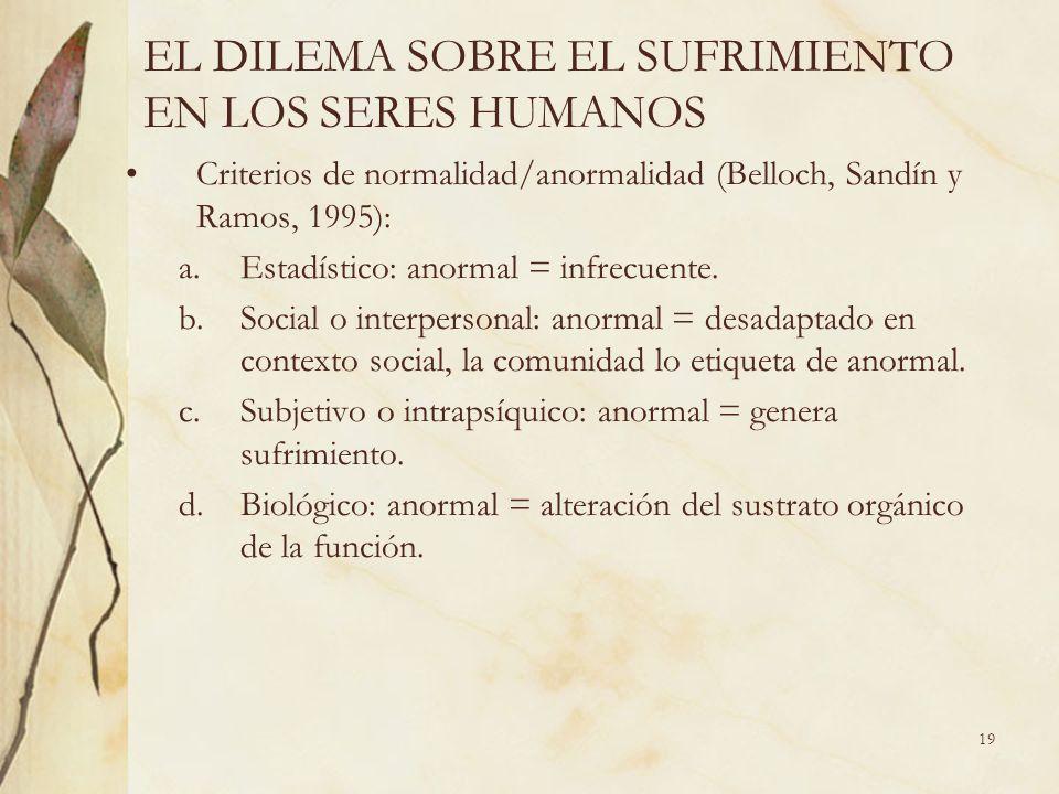 EL DILEMA SOBRE EL SUFRIMIENTO EN LOS SERES HUMANOS Criterios de normalidad/anormalidad (Belloch, Sandín y Ramos, 1995): a.Estadístico: anormal = infr