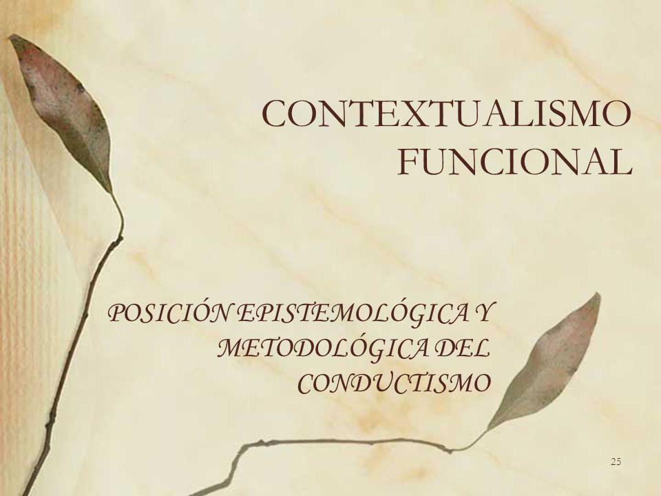 CONTEXTUALISMO FUNCIONAL POSICIÓN EPISTEMOLÓGICA Y METODOLÓGICA DEL CONDUCTISMO 25
