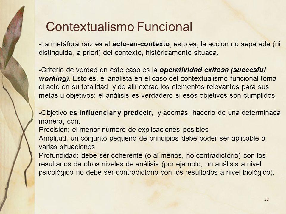Contextualismo Funcional -La metáfora raíz es el acto-en-contexto, esto es, la acción no separada (ni distinguida, a priori) del contexto, históricame