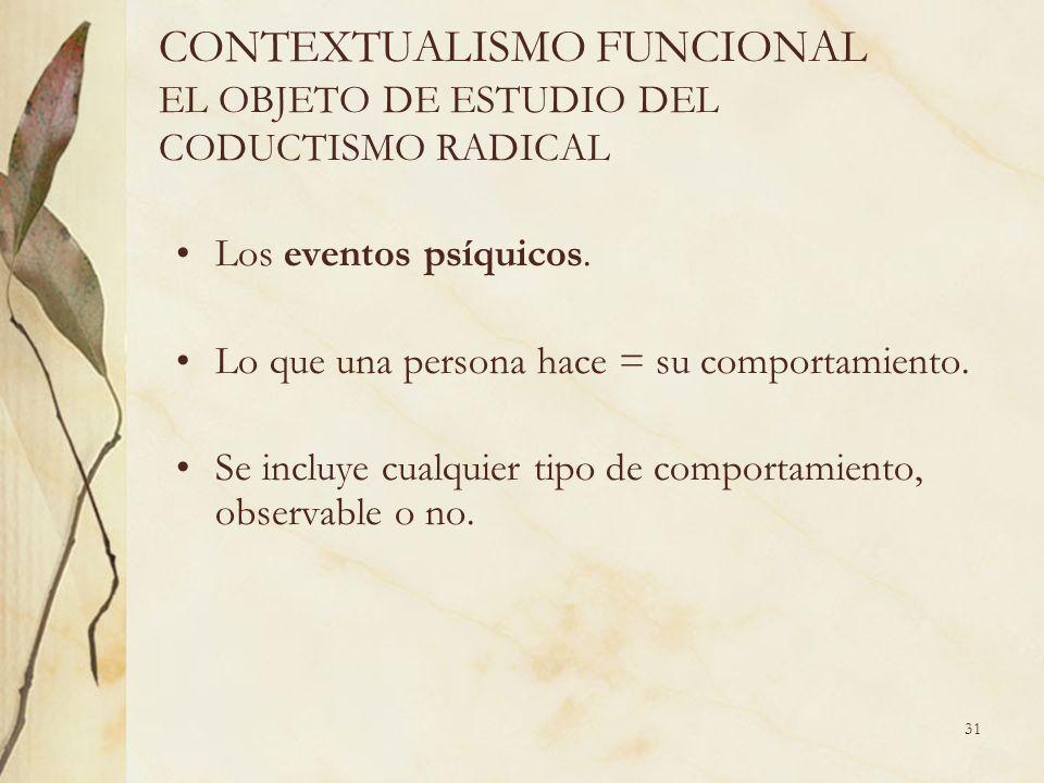 CONTEXTUALISMO FUNCIONAL EL OBJETO DE ESTUDIO DEL CODUCTISMO RADICAL Los eventos psíquicos. Lo que una persona hace = su comportamiento. Se incluye cu