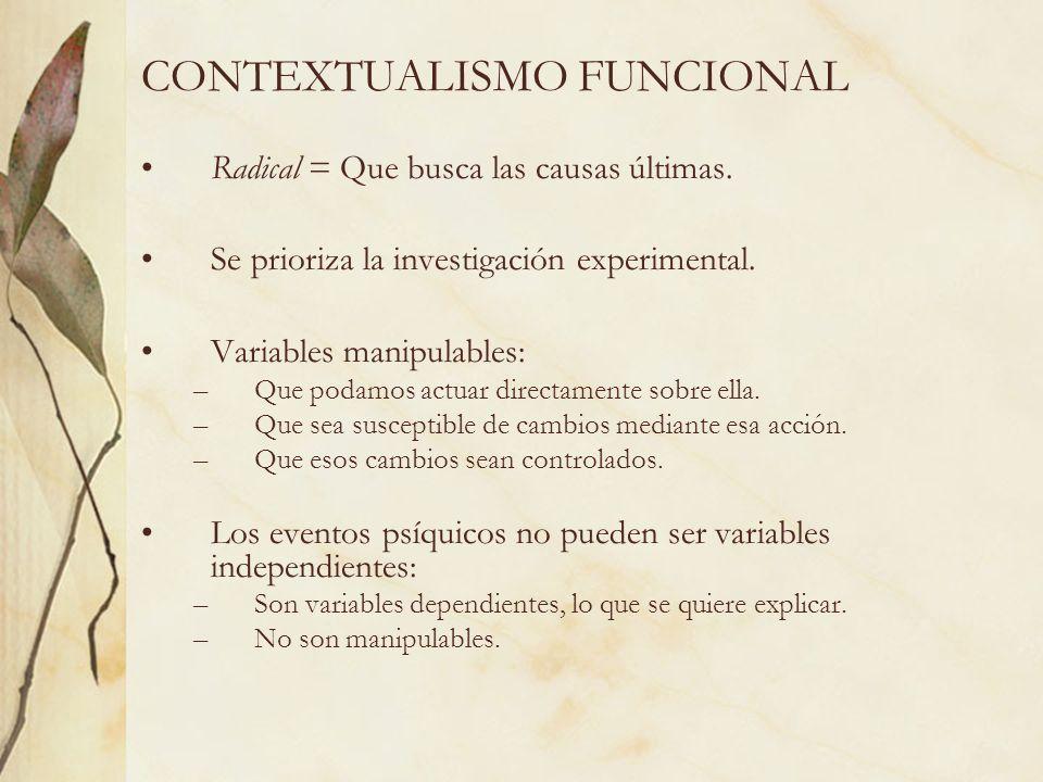 CONTEXTUALISMO FUNCIONAL Radical = Que busca las causas últimas. Se prioriza la investigación experimental. Variables manipulables: –Que podamos actua