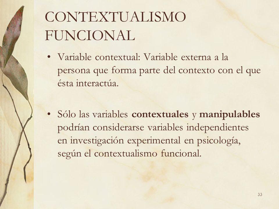 CONTEXTUALISMO FUNCIONAL Variable contextual: Variable externa a la persona que forma parte del contexto con el que ésta interactúa. Sólo las variable
