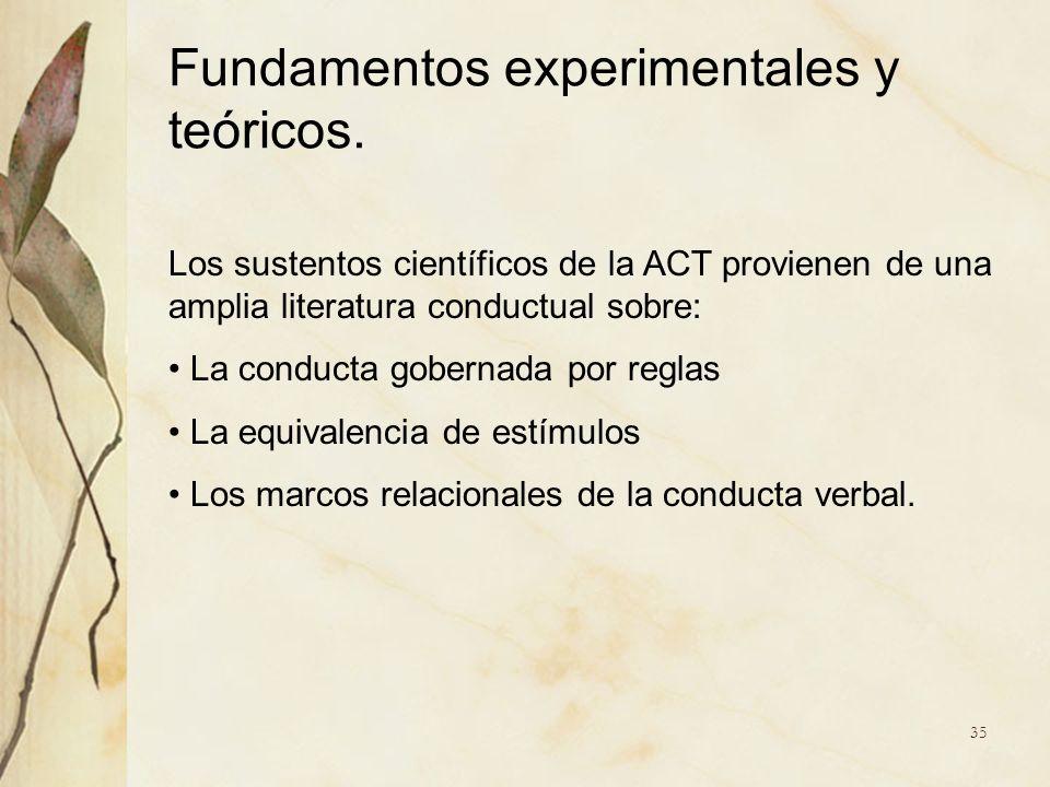 Los sustentos científicos de la ACT provienen de una amplia literatura conductual sobre: La conducta gobernada por reglas La equivalencia de estímulos